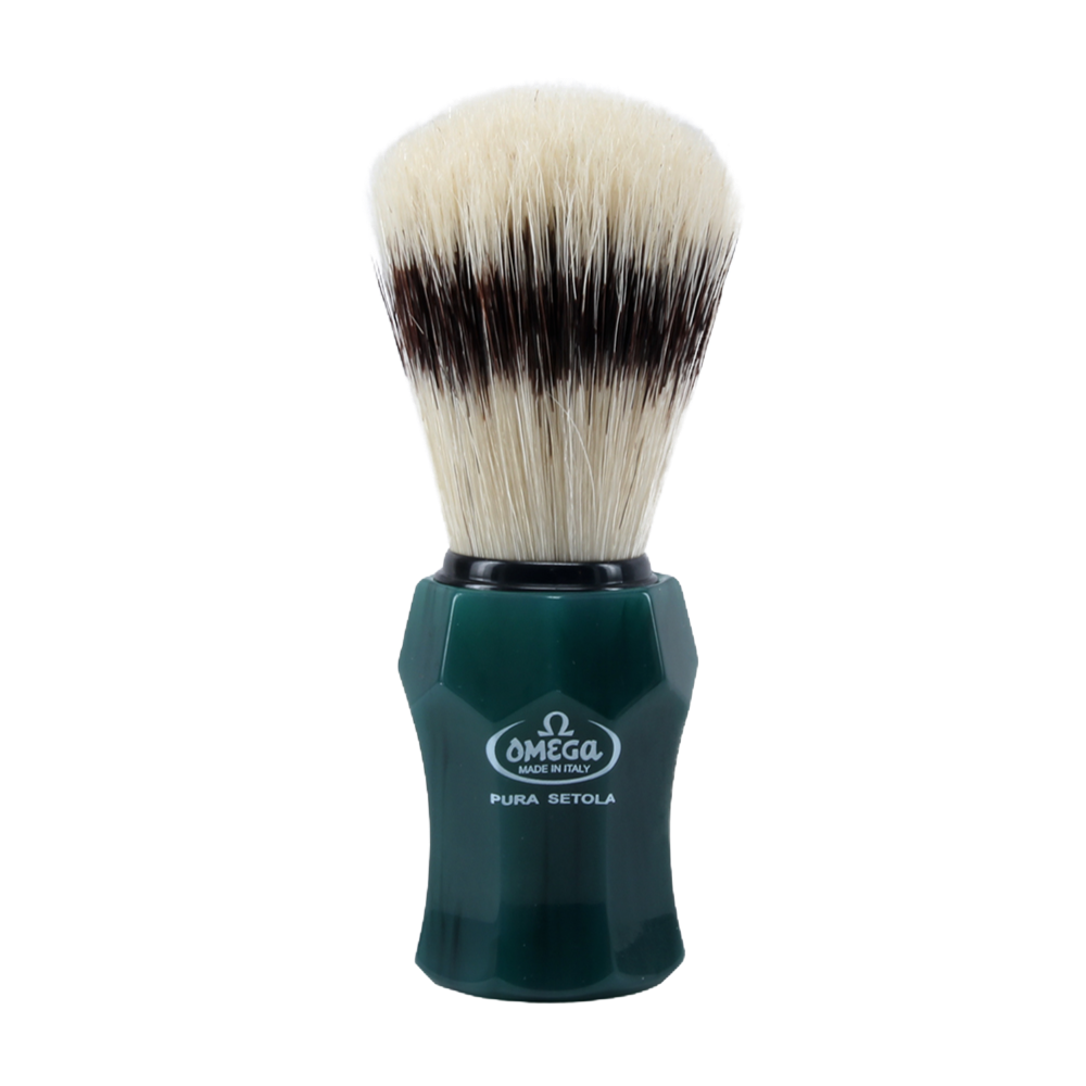 Omega 81156 - Green Handle Boar Shaving Brush, with Stand
