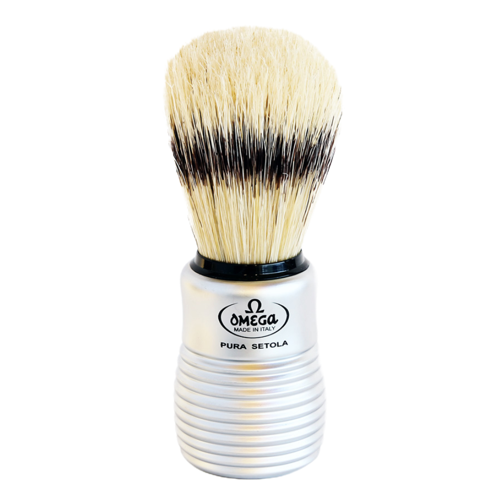 Omega 81230 - Matte Silver Beehive Handle Boar Brush w/ Stand