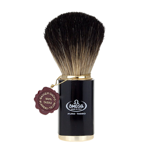 Omega - 6190 Pure Badger Hair Shaving Brush - Black Handle