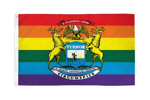 Rainbow Michigan Flag 3ft x 5ft Printed Polyester