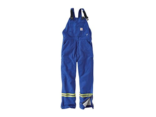 Carhartt Men's 101628 Flame-Resistant Striped Duck Bib Overall - Quilt Lined - 44W x 30L - Royal Blue