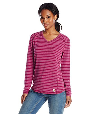 Carhartt Women's Force Long Sleeve Vneck T-Shirt Striped