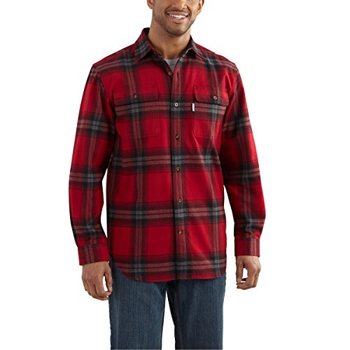 Carhartt Men's 102215 Hubbard Plaid Shirt - Large Regular - Dark Crimson