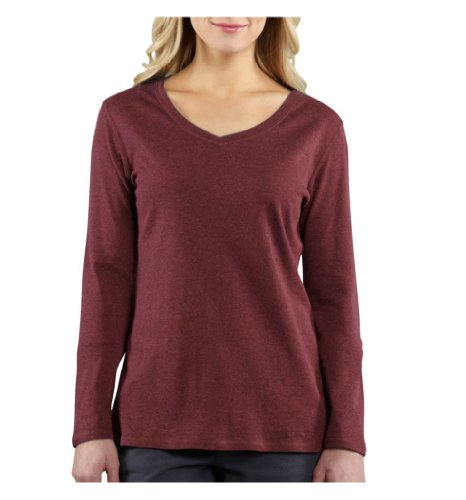 Carhartt 100683 Women's Calumet LS V-Neck T-Shirt Sangria Heather X-Small