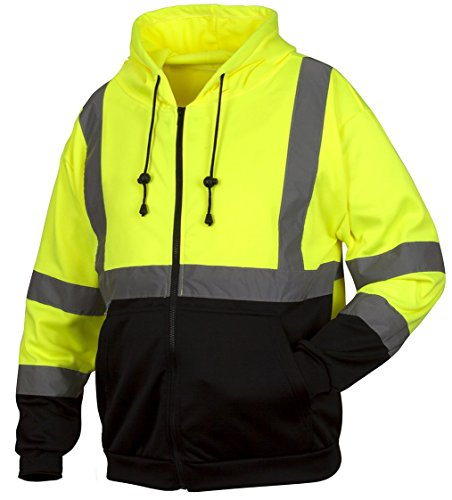 Rugged Outfitters Hi-Vis Full Zip Sweatshirt Style 70792 (Safety Green, Large)