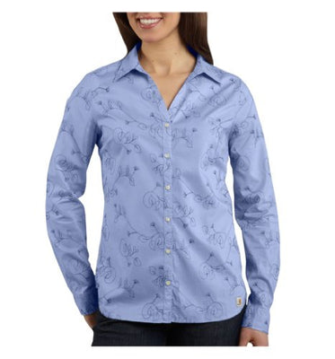 Carhartt Women's WS014 Women's Embroidered Woven Shirt - Small - Light Periwinkle
