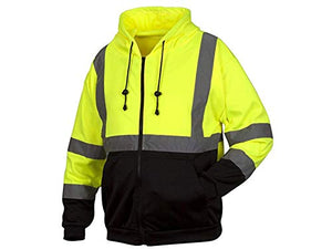 Rugged Outfitters Hi-Vis Full Zip Sweatshirt Style 70792 (Safety Green, 3X-Large)