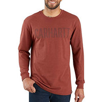 Carhartt 103841 Men's Workwear Block Logo Graphic Long Sleeve T-Shirt - XX-Large - Henna Heather