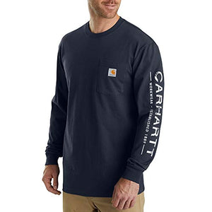 Carhartt Men's 103303 Workwear Logo Sleeve Graphic Long-Sleeve T-Shirt, Navy, Medium