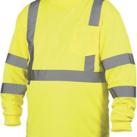 Rugged Outfitters Class 3 Long Sleeve T-Shirt Hi-Vis Safety Green (Safety Green, X-Large)
