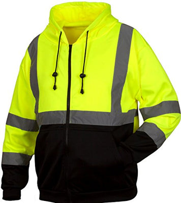 Pyramex RSZH3210L Hi-Vis Lime Safety Zipper Sweatshirt with Black Bottom