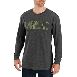 Carhartt Men's 103841 Workwear Block Logo Graphic Long Sleeve T-Shirt - Large Regular - Carbon Heather
