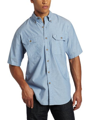 Carhartt S200 Men's Big & Tall Fort Short Sleeve Shirt Lightweight Chambray Button