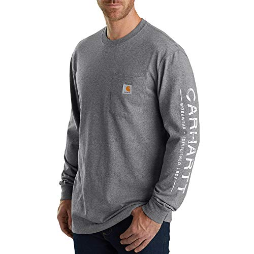 Carhartt Men's 103303 Workwear Core Graphic Long Sleeve T-Shirt - XXXX-Large - Granite Heather