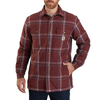 Carhartt 104452 Men's Relaxed Fit Flannel Sherpa-Lined Snap-Front Plaid Shirt Jacket