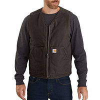 Carhartt Men's 104394 Washed Duck Vest Sherpa Lined Color Dark Brown