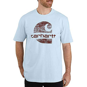 Carhartt Men's 104387 Heavyweight Logo Graphic T-Shirt - Large Regular - Soft Blue