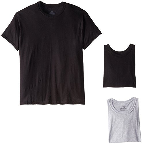 Hanes Men's 4-Pack Comfortsoft Dyed Crew, Black/Grey, X-Large