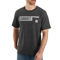 Carhartt 104180 Men's Relaxed Fit Stripe Graphic Pocket T-Shirt - Large - Carbon Heather