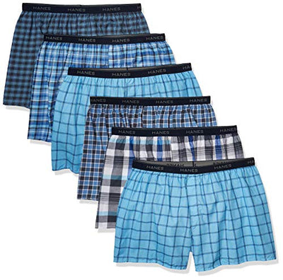 Hanes Men's Tagless Tartan Boxer with Exposed Waistband