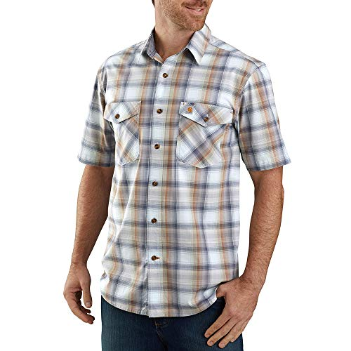 Carhartt 104173 Men's Rugged Flex Relaxed Fit Lightweight Plaid Shirt - X-Large - Soft Blue