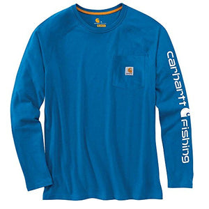 Carhartt Men's 102872 Force Delmont Fishing Graphic Long-Sleeve T-Shir-Cool Blue-Large