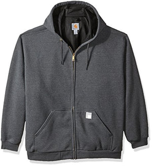 Carhartt 100632 Men's Big B&T RD Rutland Thermal Lined Hooded Zip Front Sweatshirt, Carbon Heather, 2X-Large/Tall