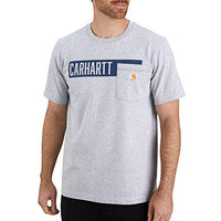 Carhartt Men's 104180 Relaxed Fit Stripe Graphic Pocket T-Shirt - X-Large - Heather Gray