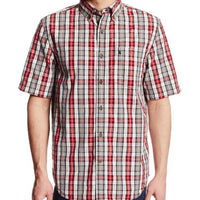 Carhartt Men's Big & Tall Essential Plaid Button Down Short Sleeve Shirt