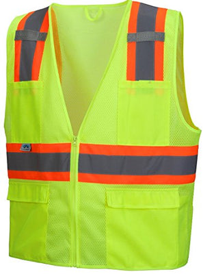 Pyramex Hi-Viz All Mesh Safety Vest with Contrasting Reflective Tape, Lime, XL