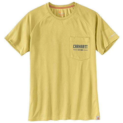 Carhartt Men's 104082 Force Birdseye Graphic Short Sleeve T-Shirt - XX-Large - Misted Yellow