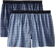 Hanes 841VTY Men's 2-Pack Exposed Waistband Woven Boxers