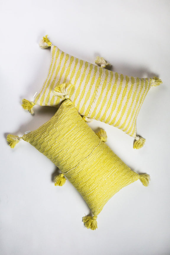 Antigua Pillow - Faded Yellow Stripe