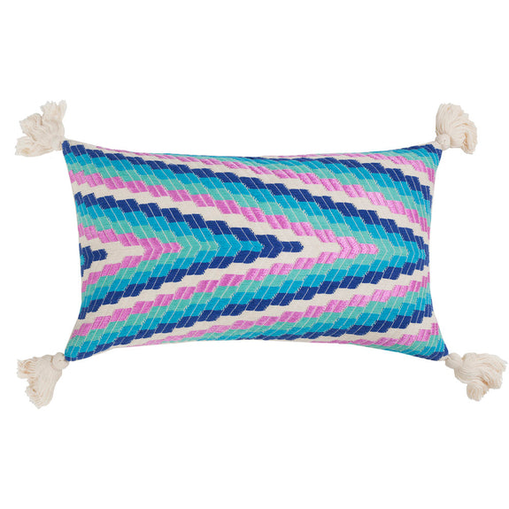 Made to order: Almolonga Zig Zag Pillow - Blue Multi