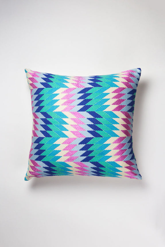 Backordered: Almolonga Diamond Pillow - Blue Multi
