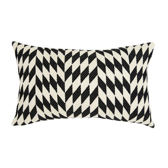"Almolonga Diamond Pillow - Black & Natural White -  12"" x 20"""