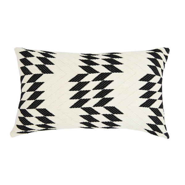 "Almolonga Quilt Pillow - Black & Natural White -  12"" x 20"""