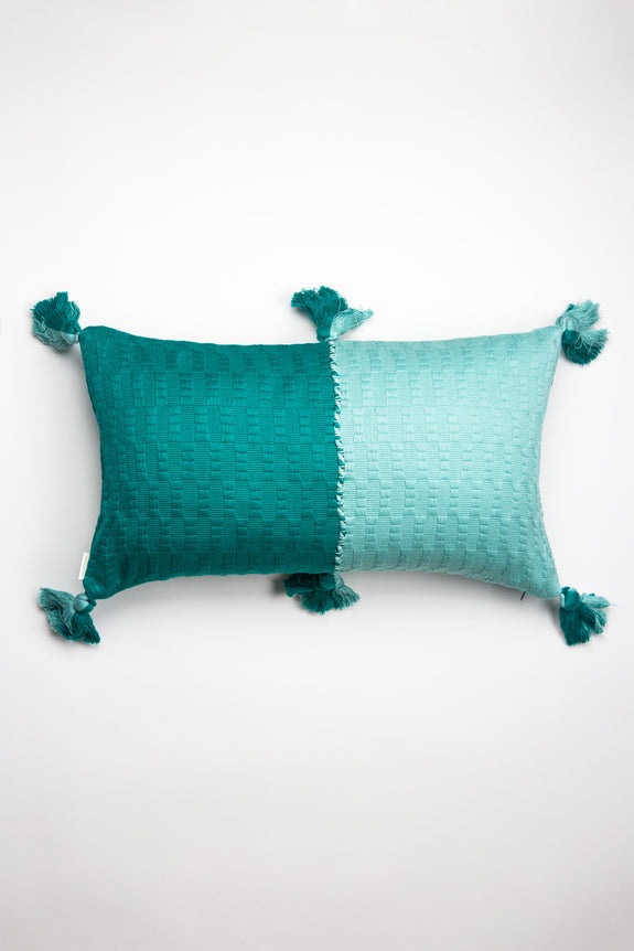 Backordered: Antigua Pillow - Jade & Faded Aqua Colorblocked