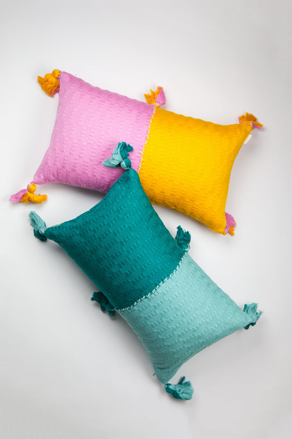 Backordered: Antigua Pillow - Bubblegum & Orange Colorblocked