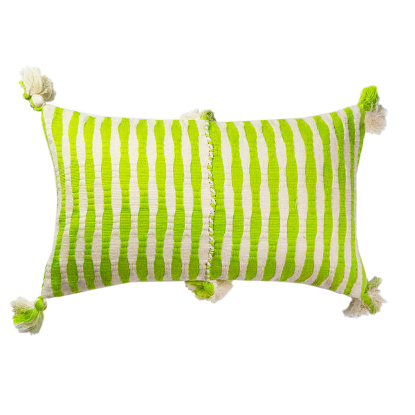 Pre-order: Antigua Pillow - Lemon Lime + Ivory Stripe