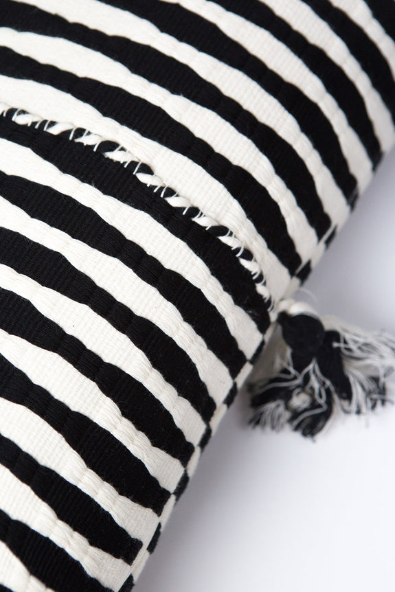Antigua Pillow - Black + Ivory