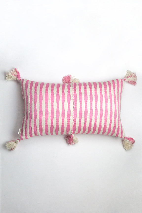 Backordered: Antigua Pillow - Bubblegum Pink Striped