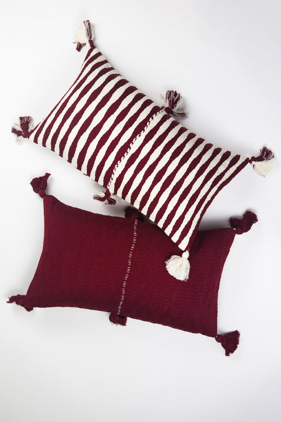 Backordered: Antigua Pillow - Burgundy Solid