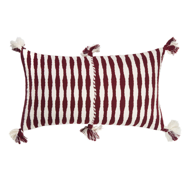 Backordered: Antigua Pillow - Burgundy Stripe