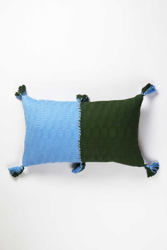Antigua Pillow - Baby Blue & Olive Colorblocked