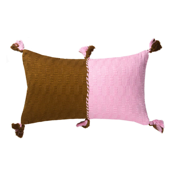 Antigua Pillow - Baby Pink & Umber Colorblocked