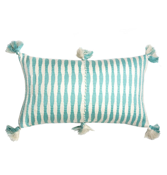 Antigua Pillow - Faded Aqua Striped