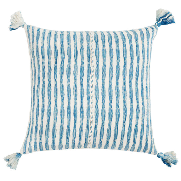 "Antigua Pillow- Natural Faded Indigo 20""x20"""