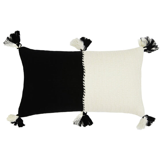 Backordered: Antigua Pillow - Black & Natural White Colorblocked