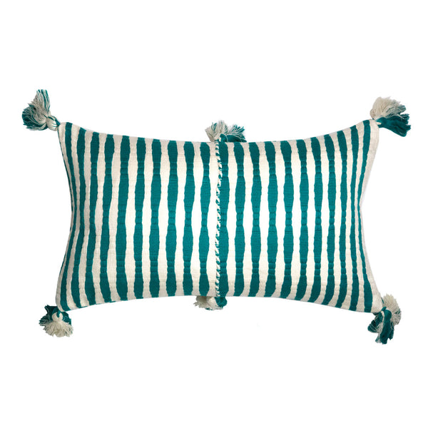 Antigua Pillow - Jade Stripe